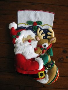 Bucilla Santa and Rudolph  Completed by MissingSockStitchery, $110.00