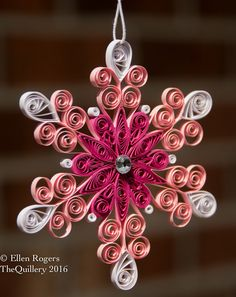 Quilled Christmas Paper Art Ornament Pink & White Snowflake by TheQuillery on Etsy https://www.etsy.com/listing/461759338/quilled-christmas-paper-art-ornament