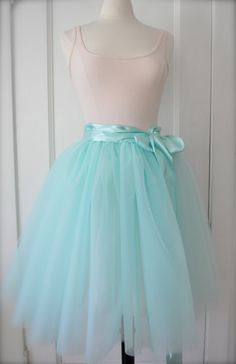 Sea Glass Tutu - Romantic Aqua Ballerina Tulle Skirt with Lining and Satin Sash by Anjou - Whimsical Wedding, Party, Prom, Plus Size