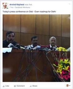 Arvind Kejriwal goes live on Facebook