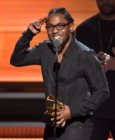 Kendrick Lamar accepts the Best Rap Album GRAMMY on the 58th Annual GRAMMY Awards on Feb. 15 in Los Angeles