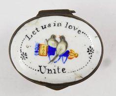 Antique 19c Battersea Enamel Patch Box w Mirror Let US in Love Unite Lovebirds   eBay