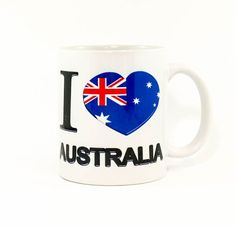 Coffee Mug 11oz Sublimated With I Love Australia Perfect Gift Unique design by Ozsublimations on Etsy