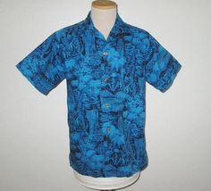 Vintage 1950s Shirt / 50s Blue Hawaiian Shirt / 50s Tropical