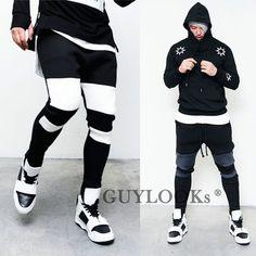 Drop Crotch Contrast Mens High Fashion Neoprene Street Baggy Sweatpants Guylook #Guylook #NeopreneBaggySweats