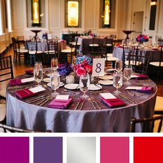 New Wedding Color Combinations for 2014! Magenta + Purple + Silver + Rose + Scarlet Red