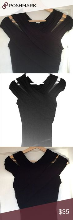 Black fitted tunic SO flattering!  Criss cross off the shoulder alternating extremely soft cotton and mesh top gathered at waist for such a slimming effect.  Wear with jeans or dress waaay up for an evening out with some sassy heels... Bailey 44 Tops Tunics
