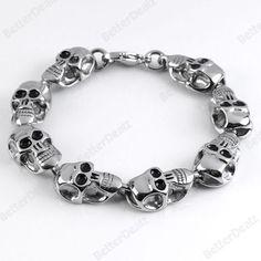Skull Carved Punk Men's Thick Bracelet 316L Stainless Steel