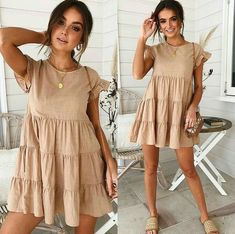 Women Casual Dresses Frauen lässig Kleid Ballkleid Baby Girl Party Kleider - ooklyy The Wonders Of 9 Mode Outfits, Dress Outfits, Fashion Dresses, Girl Outfits, Cute Casual Outfits, Casual Dresses For Women, Casual Summer Dresses, Casual Clothes, Dress Casual