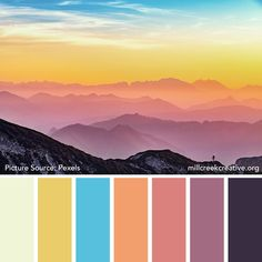 Colors of Spring: 20 Spring Color Palettes for Inspiration — Mill Creek Creative Spring Color Palette, Colour Pallette, Spring Colors, Pastel Palette, Colour Combinations Fashion, Sunset Palette, Picture Source, Blue Color Schemes, Spring Art