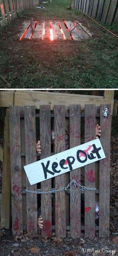 So creative idea to decorate your Halloween outdoor. 1 pallett, 1 red light, shallow digging, and a couple plastic hands...