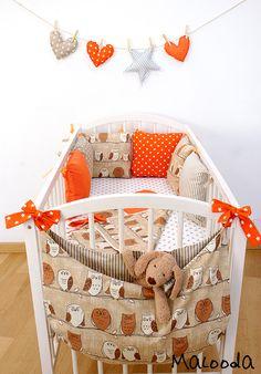Linge de lit enfant, Tour de lit Hiboux aux oranges est une création orginale de Malooda sur DaWanda