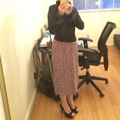 "Escada tweed skirt Multicolor tweed Escada skirt with black lined, waist=15""  hips=19""  length=24"". Marked size 36 but it will fits size 6-8 Escada Skirts"