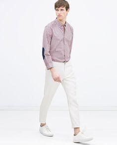 【ギンガムチェックシャツ】エルボーパッチ付きツートンギンガムチェックシャツ モデル身長:…