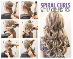 How To Curl Your Hair – 6 Different Ways To Do It We've got six techniques to create 6 different types of curls using your curling iron and flat iron! Curling Thick Hair, Hair Curling Tips, Hair Curling Tutorial, Curling Iron Curls, Curling Iron Size, Loose Curls Tutorial, Spiral Curling Iron, Curling Iron Vs Wand, Hair Tutorials