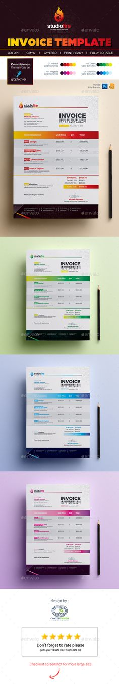Modern Invoice Template Fields, Fonts and Stationery