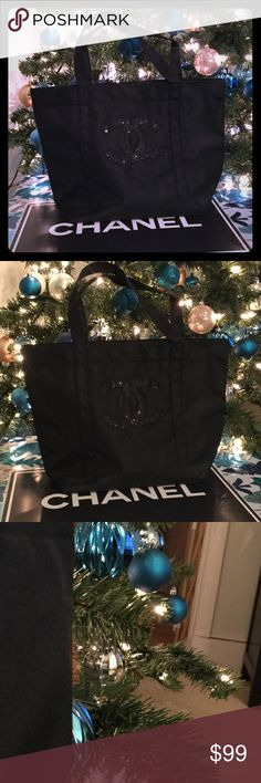 New Chanel PRECISION Sequin Tote Bag Beautiful new Chanel Precision tote. Features sequin logo on front, and Chanel Precision tag on the side exterior. Measures approx 11 H x 15 W inches. CHANEL Makeup Brushes & Tools