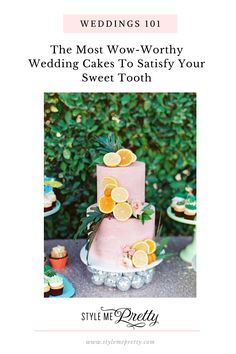 Wedding cakes are the cornerstone of the dessert table and should shine and hold their own! To get you inspired for satisfying your own sweet tooth and eye for design, head to stylemepretty.com for beautiful and fun cake ideas!  Writer & Photographer: @cavinelizabeth  #weddingcake #weddingcakeidea #weddingcakeinspiration #uniqueweddingcake #weddingdesserttable