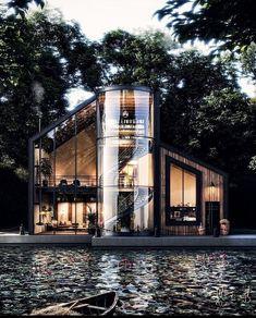 Loft House Design, Home Room Design, Modern House Design, Decoration Design, Deco Design, Architecture Design, Black House Exterior, Mansions Homes, Mega Mansions
