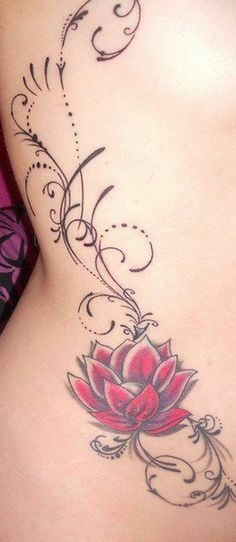 Beautiful Red Lotus Flower Tattoo on Side Body.