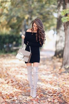 How to wear a little black dress in fall, how to wear a little black dress casually, Stuart Weitzman over the knee boots, hair inspiration