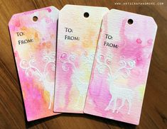 """alexandra's sunday scrapbooking - Tags w resist emboss + Zig Clean Color Brush Markers 