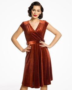 f61f800505a Dawn Burnt Orange Velvet Swing Dress