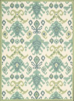 Nourison New collection Vista - oversized IKAT pattern in blue, green, teal & ivory area rug