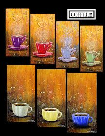 I would admire these while enjoying my coffee. I Love Coffee, Coffee Shop, My Coffee, Coffee Cup Art, Coffee Poster, Coffee Painting, Tea Art, Art Portfolio, Painting Inspiration
