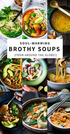 20 Healthy Broth Based Soup Recipes From Around The World. Delectable And Simple, With Many Paleo, Gluten-Free And Vegan Options Via Feastingathome Healthy Soup Recipes, Healthy Appetizers, Appetizer Recipes, Vegetarian Recipes, Cooking Recipes, Soup Appetizers, Diet Recipes, Recipies, Vegetarian Soup