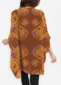Made from eco-friendly Bemberg, this gorgeous sheer wrap features original art and pairs seamlessly with a sleeveless top or dress. Red Feather, Yellow Sunflower, Butterfly Wings, My Outfit, Kimono Top, Tunic Tops, The Originals, Eco Friendly, Original Art