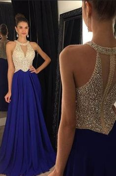 2018 Sexy Chiffon Scoop-Neck A Line Prom Kleider Reißverschluss Up Beaded Mieder Royal Blue Prom Dresses, Elegant Bridesmaid Dresses, A Line Prom Dresses, Dance Dresses, Girls Dresses, Formal Dresses, Prom Gowns, Dress Prom, Dress Long