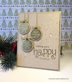 Happy Christmas Gold ornament card by Tataiana | Jolly Tags and Simply Seasonal stamp sets by Newton's Nook Designs #newtonsnook