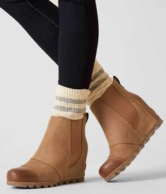 Sorel Lea™ Ankle Boot - Women's Shoes in Elk Curry Buckle Ankle Boots, Wedge Ankle Boots, Wedge Booties Outfit, Sorel Wedge Boots, Stitch Fix, Winter Boots Outfits, Fall Outfits, Slippers, Moda Femenina