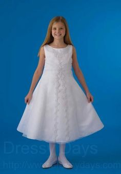 First Communion Dress in Organza with Satin Princess Line Split Front  : HBC1008CL