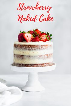 This elegant layer cake is made with fresh strawberries and is covered in a thin layer of cream cheese frosting. Recipe by Snixy Kitchen.  #strawberrycake #californiastrawberries #nakedcake #layercake #dessertrecipes #cakerecipe #bakingathome #dessert #strawberrydessert #simpledessert #entertaining Strawberry Layer Cakes, Strawberry Filling, Strawberry Desserts, Cream Cheese Eggs, Cream Cheese Frosting, Cake Recipes, Dessert Recipes, Let Them Eat Cake, Easy Desserts
