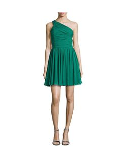 New Halston Heritage Emerald Green Ruched One Shoulder Cocktail Dress Sz 2 | eBay