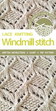 Knitting Stitches -- Lacy Knitting Patterns. Free Knitting Pattern. Japanese Lace Knitting Stitch Pattern for Scarves. #knitters