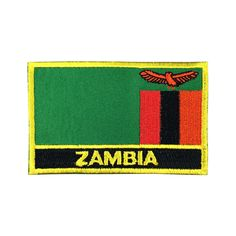 Zambia Flag Patch Embroidered Patch Gold Border Iron On patch Sew on Patch Bag Patch meet you on Fleckenworld.com