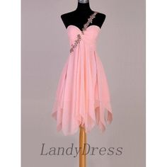Pink Short Prom Dresses, Chiffon Junior Prom Dress, Sweet 16 Dress with Spaghetti Straps