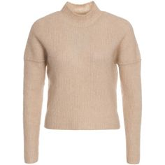 By Malene Birger Mirakula Pullover ($275) ❤ liked on Polyvore featuring tops, sweaters, beige, jumpers & cardigans, womens-fashion, pullover sweater, beige knit sweater, loose crop top, turtle neck crop top and beige sweater