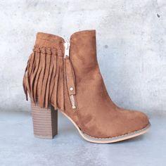 city chic fringe vegan suede ankle boot - camel