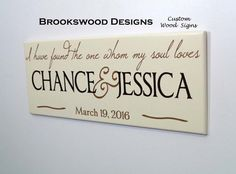 """Wood Family Name Sign with Quote """"I Have Found The One Whom My Soul Loves""""Customized Last Name Wedding Gift Wall Plaque for Home Decor"""