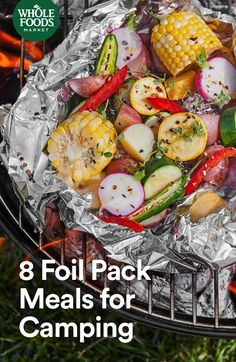 8 Foil Packet Meals --> From a veggie medley to a s'mores burrito (yes, really), we've got inspiration so you don't have to survive on protein bars on your next camping trip. Whole Foods Market, Whole Food Recipes, Dinner Recipes, Healthy Recipes, Healthy Food, Grilling Recipes, Cooking Recipes, Cooking Ideas, Vegan Grilling