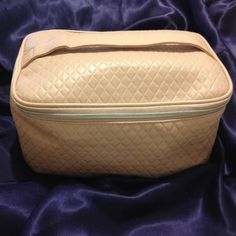 "LANCOME QUILTED SOFT PINK COSMETIC ""TRAIN"" CASE Mint new unused condition. Large size 9.5"" wide x 7"" long x 4.5"" deep. Zippered Top with double silver ball closure. Diamond quilted pattern overall. Flat bottom. Flat handle on top. Very soft buff pink color. Smoke free home, 24 hr ship (except Sun), happy to bundle. Lancome Other"