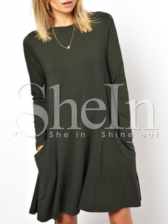 Shop Green Long Sleeve Pockets Casual Dress online. SheIn offers Green Long Sleeve Pockets Casual Dress & more to fit your fashionable needs.