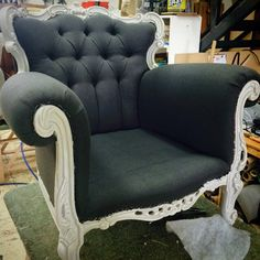 Upholstering rococo style chair