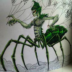 """Ďalší rozpracovaný obrázokAle už som sa tejto pavučici nemohla vyhýbať,vybral mi ju synček.,,A kedy budeš toho pavúka malovať?on je taký parádny"""" (no neviem,ja ako arachnofobička mám na to iný názor ) A dnes mi vraví: ,,Jee mamina ten pavúk má veľké didiny!"""" chlapec sa vyzná #kerbyrosanes #mythomorphia #prismacolor #prismacolorpremier #color#coloring#coloringbook #coloringbookforadults #adultcoloringbook #antistresoveomalovanky #relax #colortherapy #arttherapy #bayan_boyan #artecomot..."""