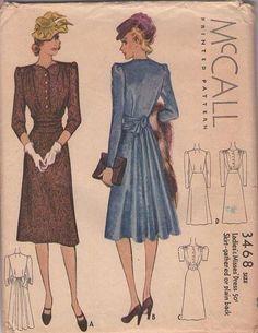 MOMSPatterns Vintage Sewing Patterns - McCall's 3468 Vintage 30's Sewing Pattern MAGNIFICENT Flared Bustle Back Rear Interest Shirtwaist Eve...