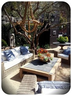 outdoor patio, rope chandalier